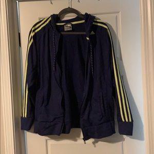 Navy adidas jacket with hood